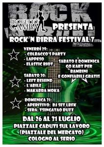 Cologno Al Serio, Rock N' Roll Birra Festival 7 @ Piazzale dei Caduti  - Piazza del Mercato, Cologno Al Serio