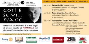 """Romano, """"Cosi è se vi...piace"""" @ Palazzo Rubini, Rocca Viscontea, Teatro Centro Sociale Polivalente"""