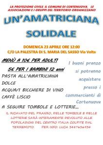 Cortenuova, amatriciana solidale @ Palestra di S.Maria del Sasso | Santa Maria del Sasso | Lombardia | Italia