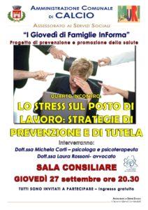 """Calcio, Quarto incontro """"I giovedì di Famiglie InForma"""" con """"Stress sul posto di lavoro"""" @ Sala Consiliare, Calcio"""