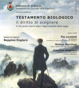 """Urgnano, Testamento biologico: """"Il diritto di scegliere"""" @ Rocca Albani (Sala Rossa), Urgnano"""