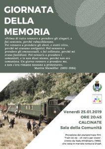 Calcinate, Giornata della Memoria @ Sala della Comunità
