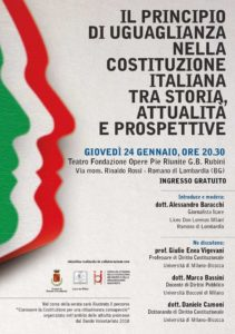 """Romano di Lombardia, """"Il principio di uguaglianza nella Costituzione Italiana"""" @ Teatro della Fondazione Rubini"""