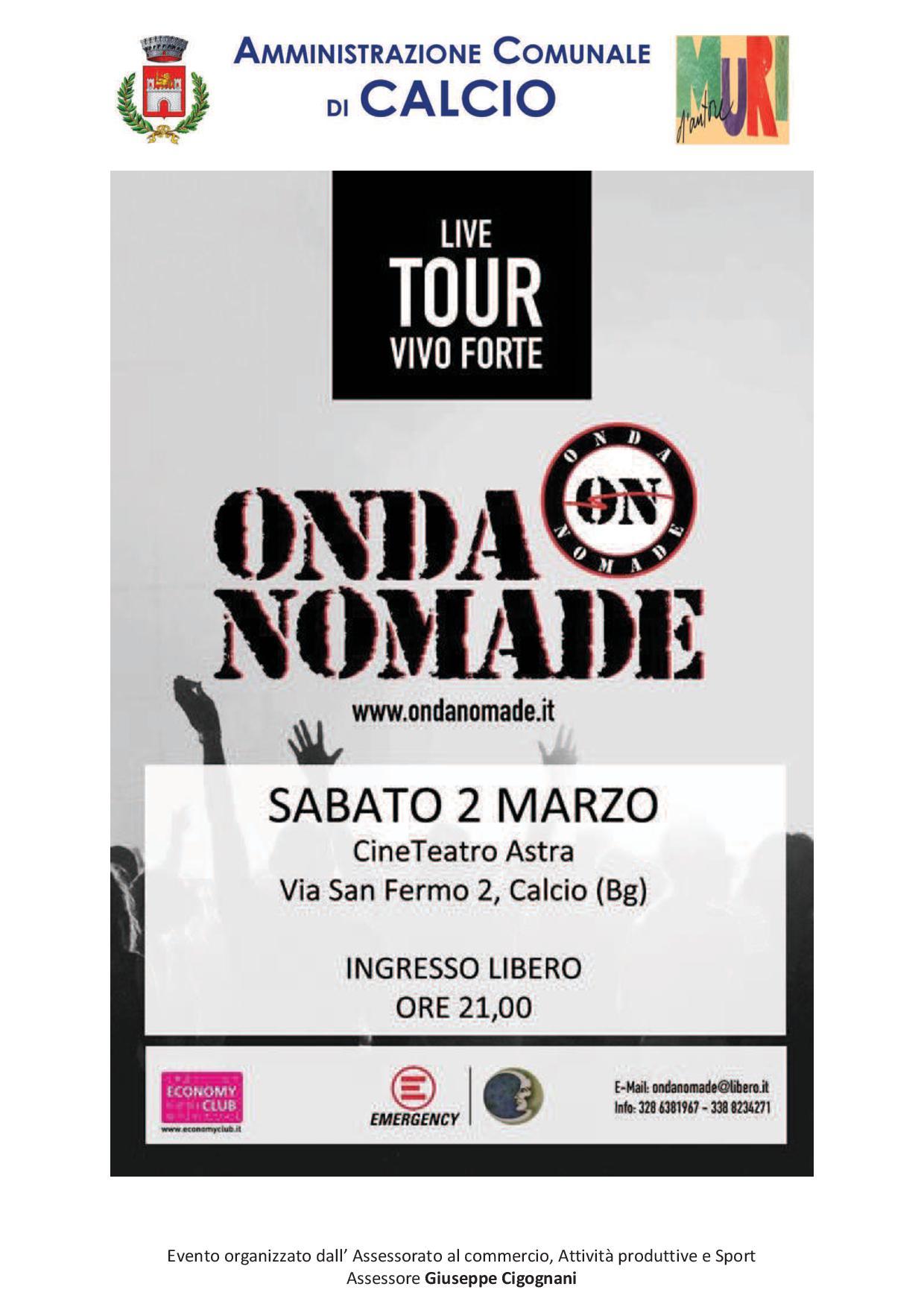 Calendario Concerti Nomadi.Calcio Onda Nomade Nomadi Tribute Band In Concerto