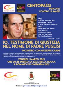 """Romano di Lombardia, """"Io, testimone di giustizia nel nome di Padre Puglisi"""" @ Sala della Rocca, Romano di Lombardia"""