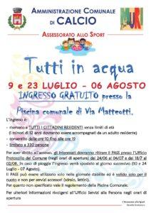 """Calcio, """"Tutti in acqua"""" @ Calcio"""