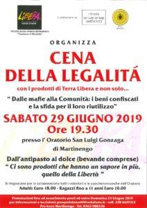 """Martinengo, """"Cena della legalità"""" @ Oratorio San Luigi Gonzaga"""